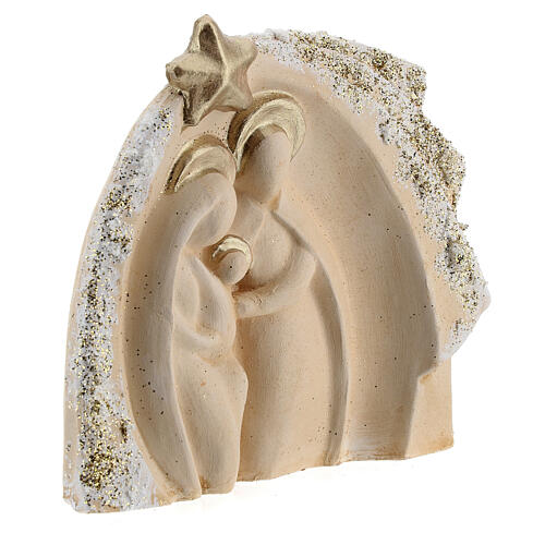 Holy Family figure with stable ivory gold decor in Deruta terracotta 14x16 cm 3
