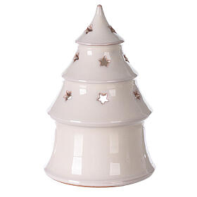 Christmas tree candle holder with Holy Family in white Deruta terracotta 15 cm s4