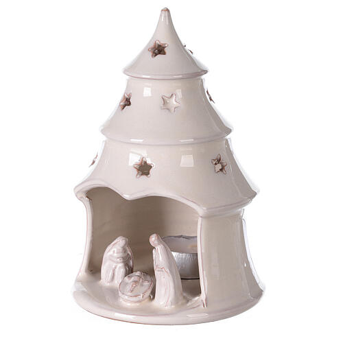 Christmas tree candle holder with Holy Family in white Deruta terracotta 15 cm 2