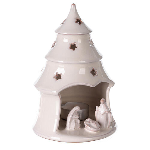 Christmas tree candle holder with Holy Family in white Deruta terracotta 15 cm 3