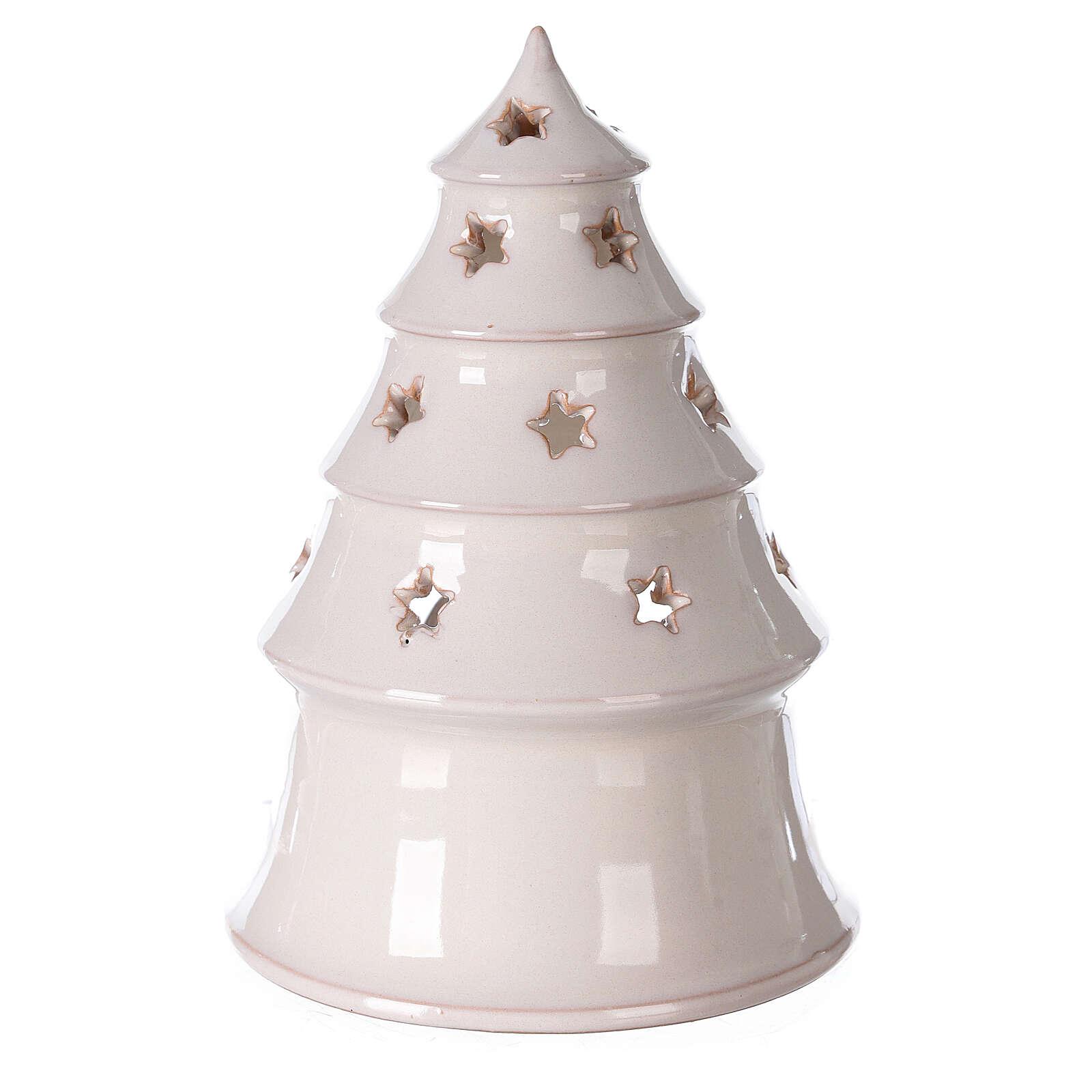 Sapin terre cuite Sainte Famille ajouré étoiles blanc Deruta 20 cm 4