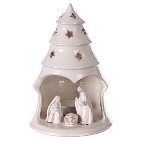 Sapin terre cuite Sainte Famille ajouré étoiles blanc Deruta 20 cm s1