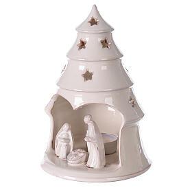 Sapin terre cuite Sainte Famille ajouré étoiles blanc Deruta 20 cm s2