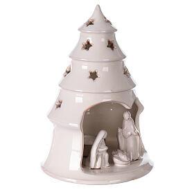 Sapin terre cuite Sainte Famille ajouré étoiles blanc Deruta 20 cm s3