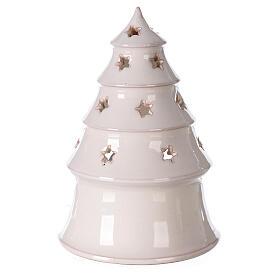 Sapin terre cuite Sainte Famille ajouré étoiles blanc Deruta 20 cm s4