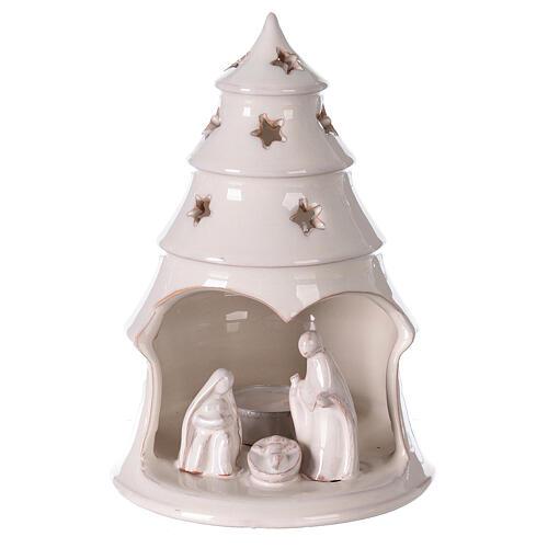 Sapin terre cuite Sainte Famille ajouré étoiles blanc Deruta 20 cm 1