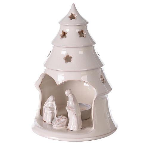 Sapin terre cuite Sainte Famille ajouré étoiles blanc Deruta 20 cm 2