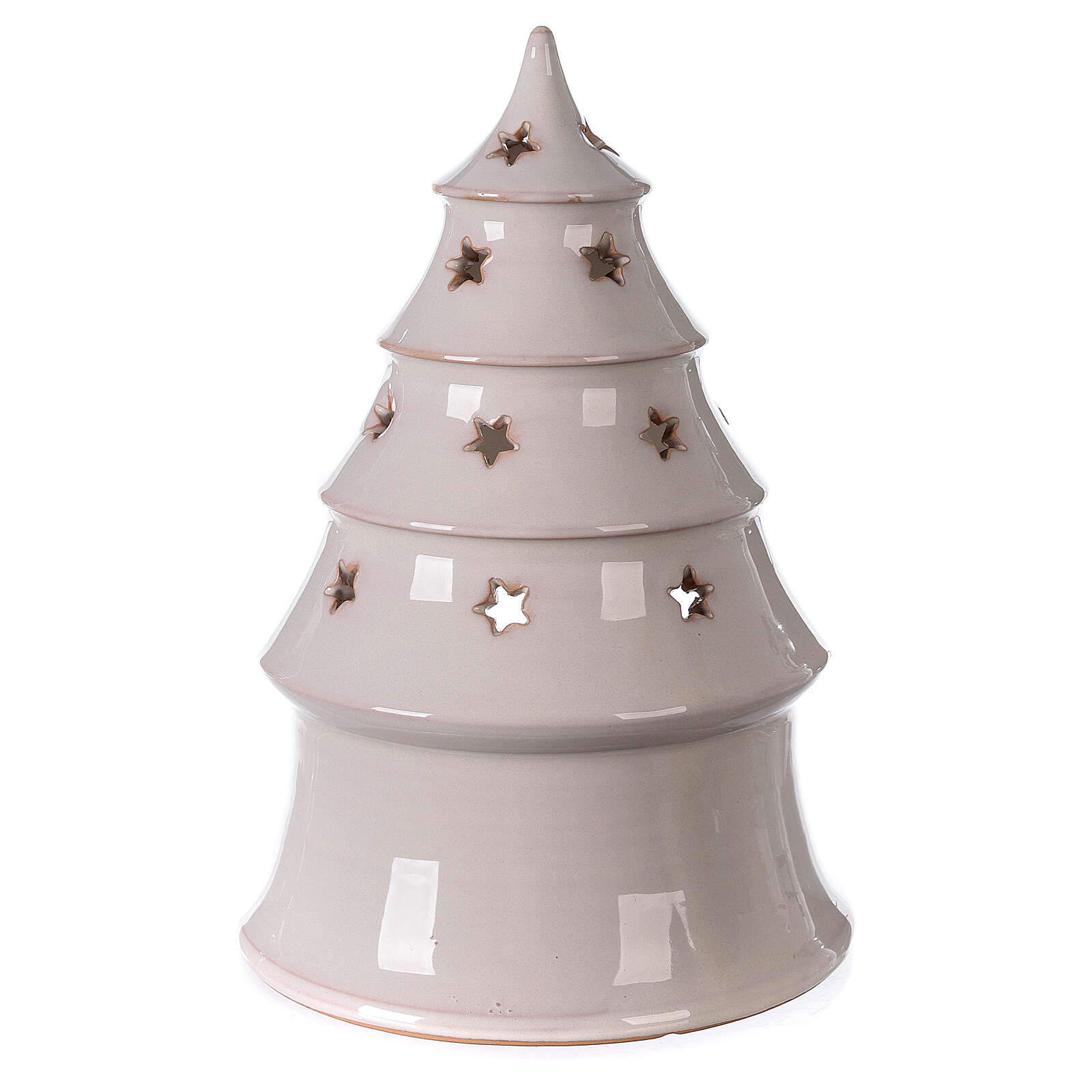 Holy Family in Christmas tree candle holder in white Deruta terracotta 25 cm 4