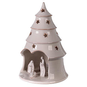 Holy Family in Christmas tree candle holder in white Deruta terracotta 25 cm s2