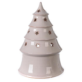 Holy Family in Christmas tree candle holder in white Deruta terracotta 25 cm s4
