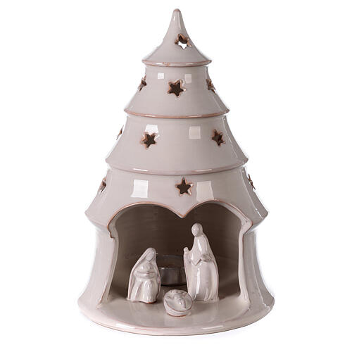 Holy Family in Christmas tree candle holder in white Deruta terracotta 25 cm 1