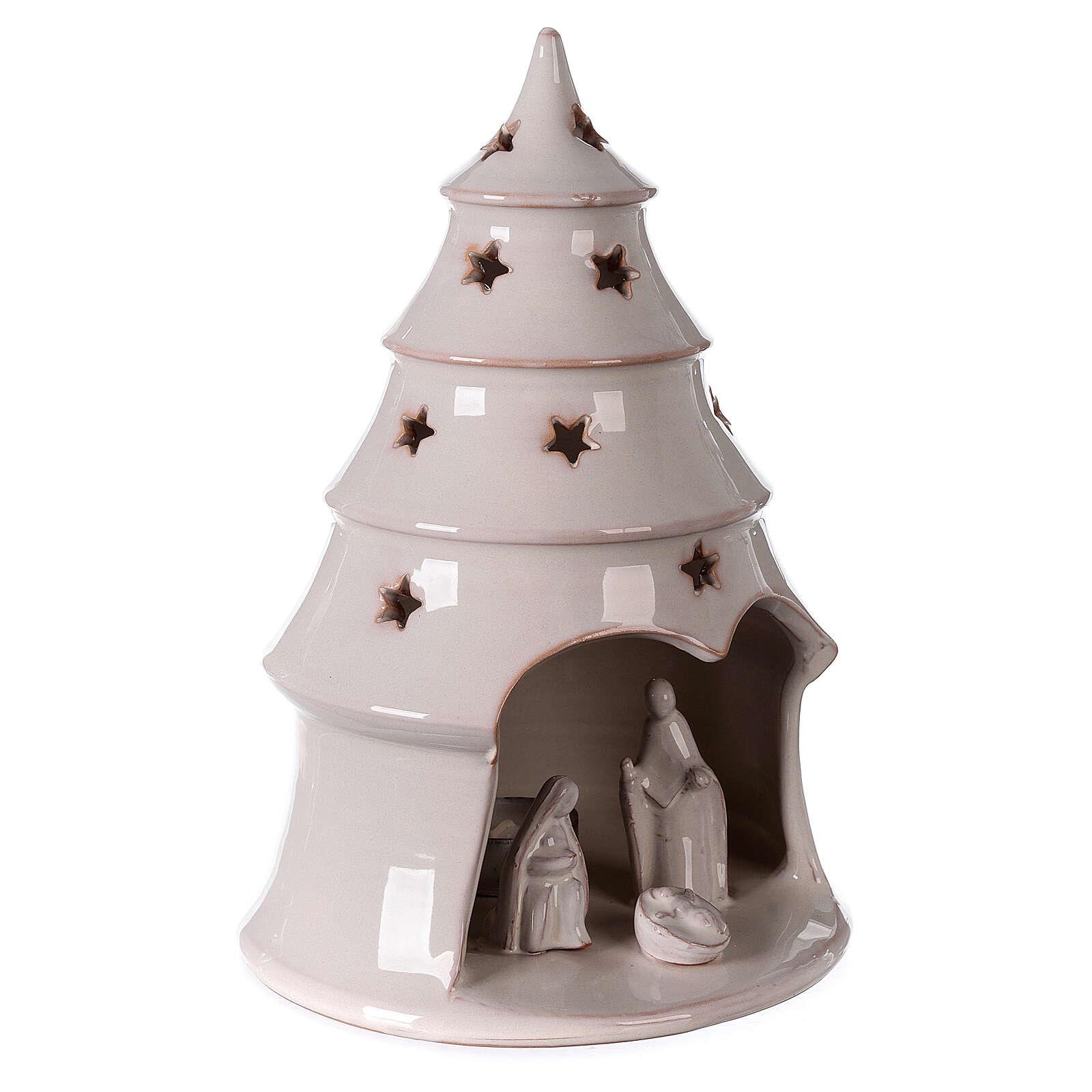 Albero Natale con Natività terracotta bianca Deruta 25 cm 4