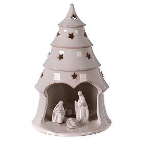 Albero Natale con Natività terracotta bianca Deruta 25 cm s1