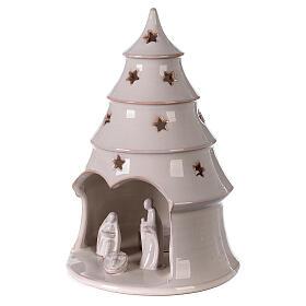 Albero Natale con Natività terracotta bianca Deruta 25 cm s2