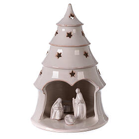 Christmas tree candle holder with Nativity white Deruta terracotta 25 cm s1