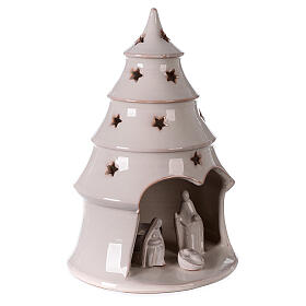 Christmas tree candle holder with Nativity white Deruta terracotta 25 cm s3