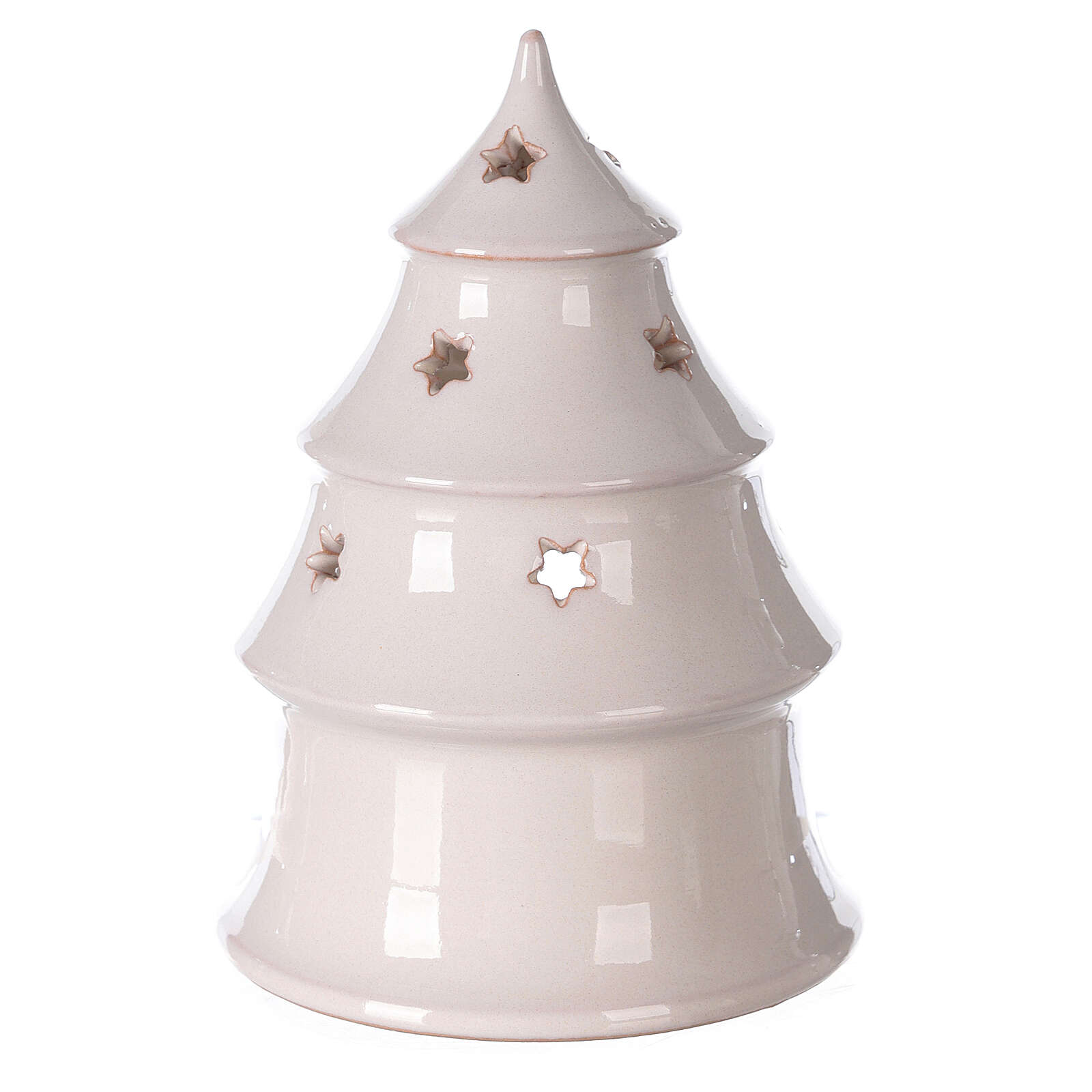 Holy Family in Christmas tree candle holder, two-tone Deruta terracotta 15 cm 4