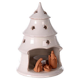 Holy Family in Christmas tree candle holder, two-tone Deruta terracotta 15 cm s3