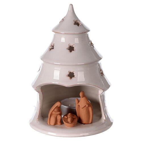 Holy Family in Christmas tree candle holder, two-tone Deruta terracotta 15 cm 1