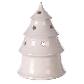 Christmas tree candle holder with Holy Family bi-colored Deruta terracotta 15 cm s4