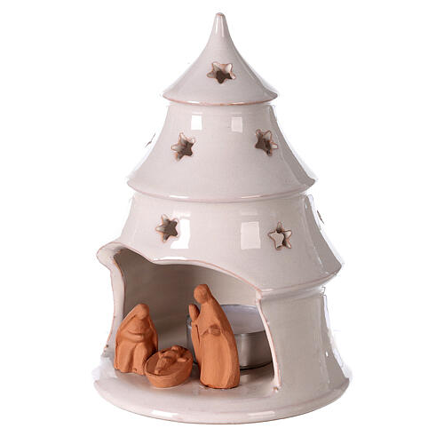 Christmas tree candle holder with Holy Family bi-colored Deruta terracotta 15 cm 2