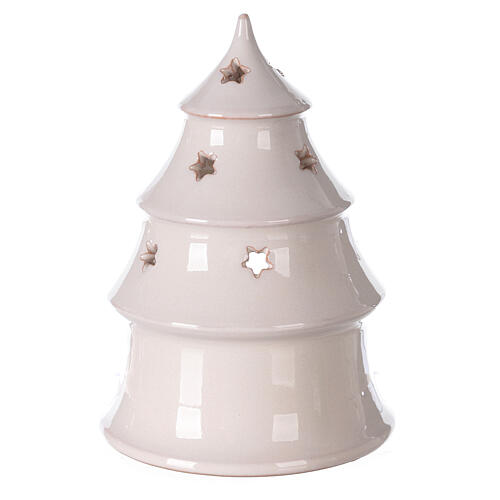 Christmas tree candle holder with Holy Family bi-colored Deruta terracotta 15 cm 4