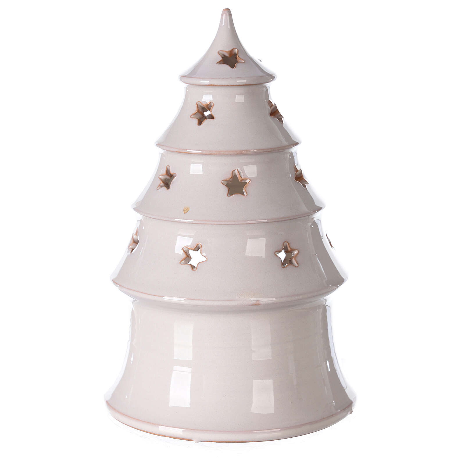 Holy Family in white Christmas tree candle holder Deruta terracotta 20 cm 4