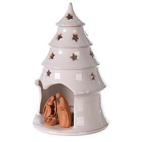 Holy Family in white Christmas tree candle holder Deruta terracotta 20 cm s2