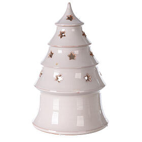 Holy Family in white Christmas tree candle holder Deruta terracotta 20 cm s4