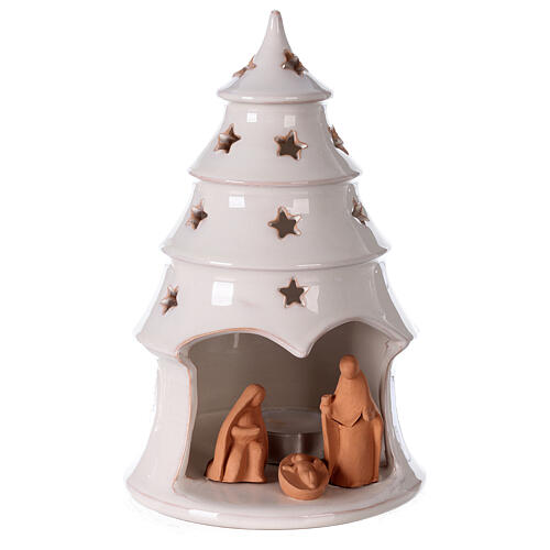 Holy Family in white Christmas tree candle holder Deruta terracotta 20 cm 1