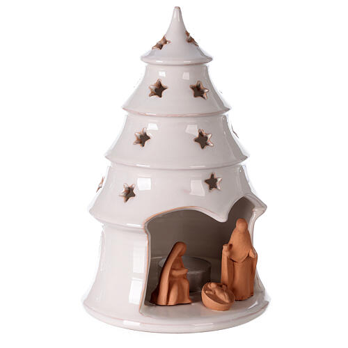 Holy Family in white Christmas tree candle holder Deruta terracotta 20 cm 3