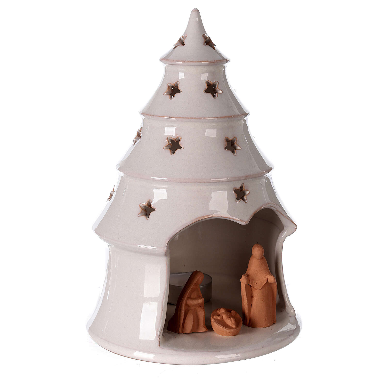 Holy Family in white Christmas tree candle holder Deruta terracotta 25 cm 4