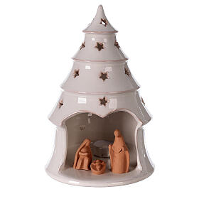 Holy Family in white Christmas tree candle holder Deruta terracotta 25 cm s1