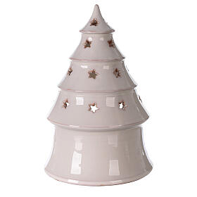 Holy Family in white Christmas tree candle holder Deruta terracotta 25 cm s4