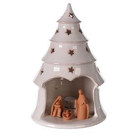 Sapin conique Sainte Famille terre cuite Deruta bougie 25 cm s1