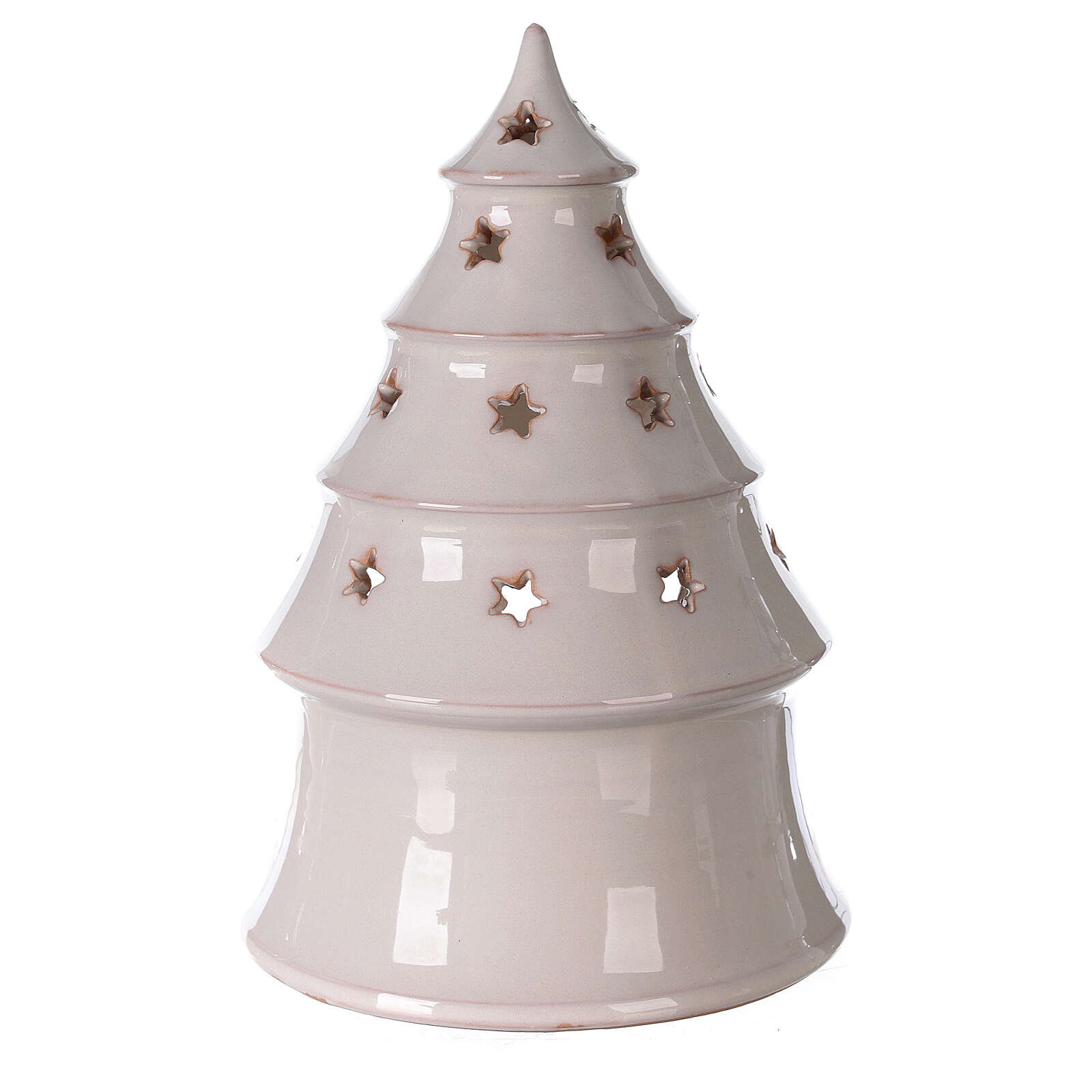 Conical tree with Holy Family tealight Deruta terracotta 25 cm 4
