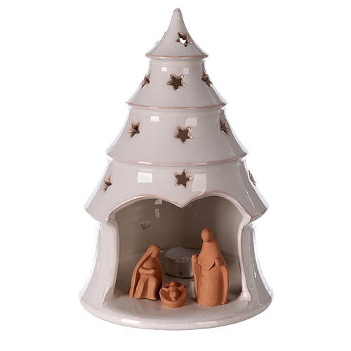 Conical tree with Holy Family tealight Deruta terracotta 25 cm 1