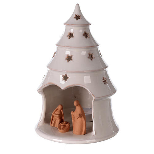 Conical tree with Holy Family tealight Deruta terracotta 25 cm 2