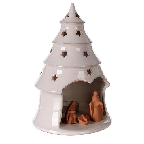 Conical tree with Holy Family tealight Deruta terracotta 25 cm 3