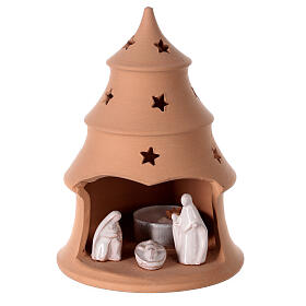 Christmas tree candle holder with white nativity set Deruta terracotta 15 cm s1
