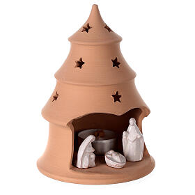 Christmas tree candle holder with white nativity set Deruta terracotta 15 cm s3