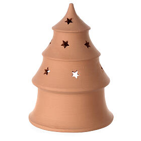 Christmas tree candle holder with white nativity set Deruta terracotta 15 cm s4