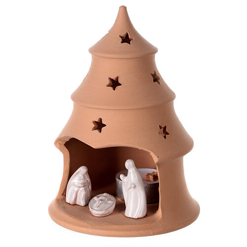 Christmas tree candle holder with white nativity set Deruta terracotta 15 cm 2