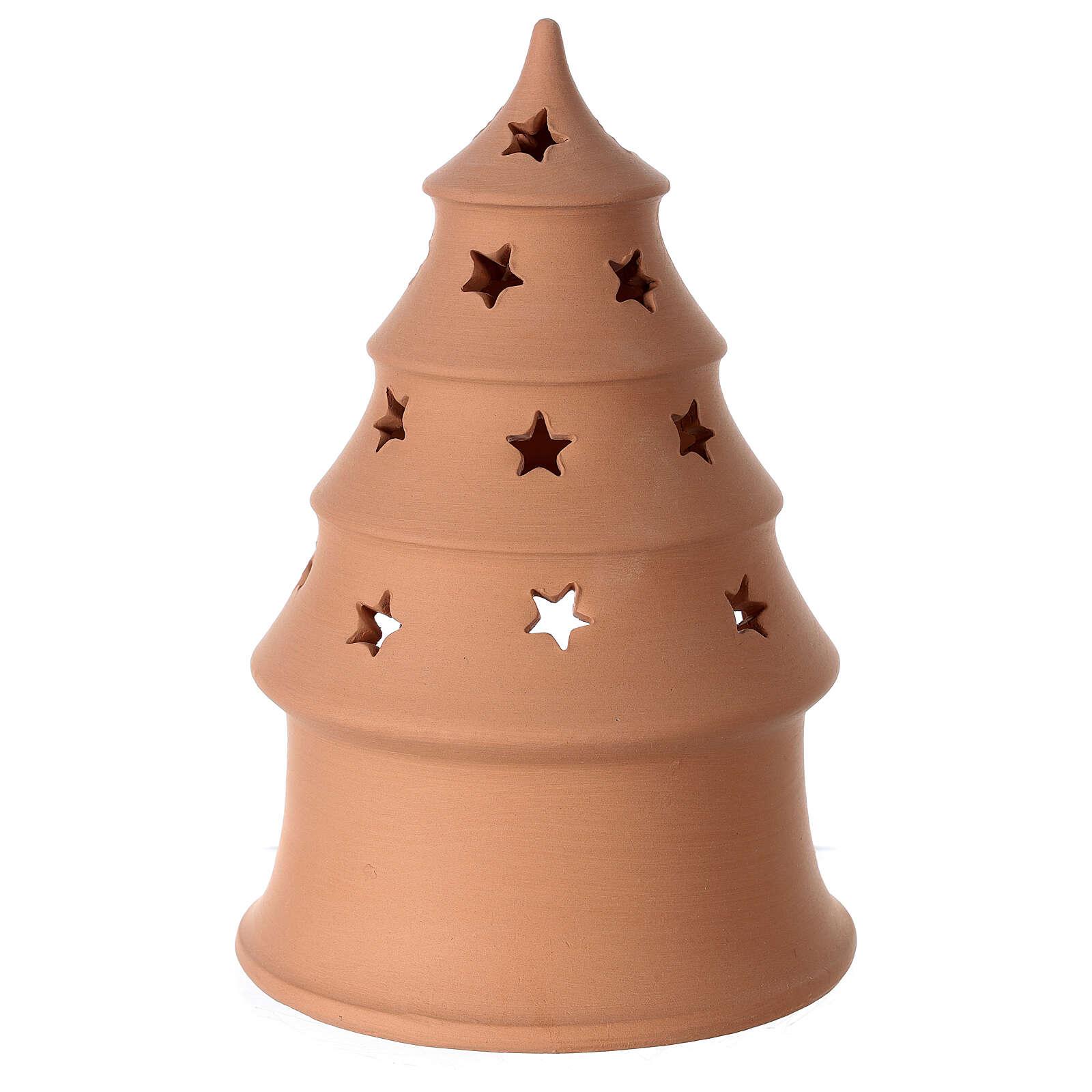 Photophore Nativité sapin terre cuite Deruta santons blancs 20 cm 4