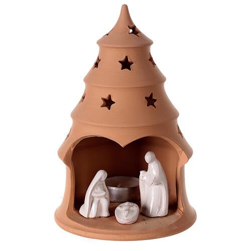Photophore Nativité sapin terre cuite Deruta santons blancs 20 cm 1