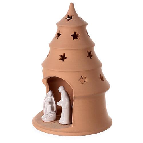 Photophore Nativité sapin terre cuite Deruta santons blancs 20 cm 2