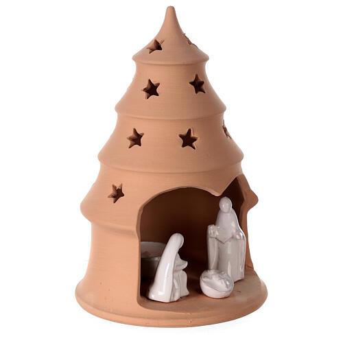 Photophore Nativité sapin terre cuite Deruta santons blancs 20 cm 3