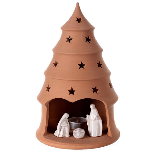 White Holy Family in Christmas tree candle holder 25 cm, Deruta terracotta 1