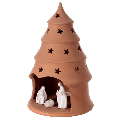White Holy Family in Christmas tree candle holder 25 cm, Deruta terracotta 2