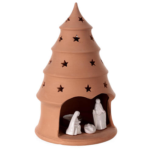 White Holy Family in Christmas tree candle holder 25 cm, Deruta terracotta 3